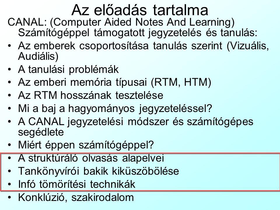 Az előadás tartalma CANAL: (Computer Aided Notes And Learning) Számítógéppel támogatott jegyzetelés és tanulás:
