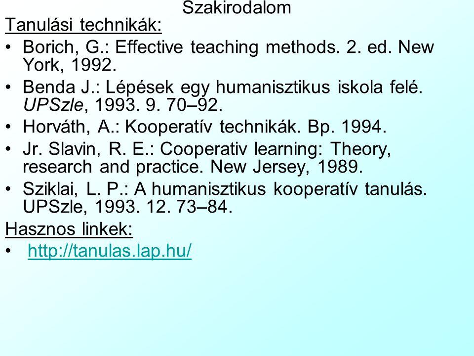 Szakirodalom Tanulási technikák: Borich, G.: Effective teaching methods. 2. ed. New York, 1992.