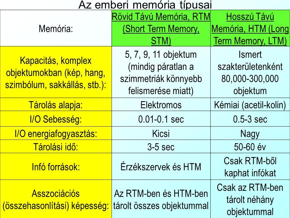 Az emberi memória típusai