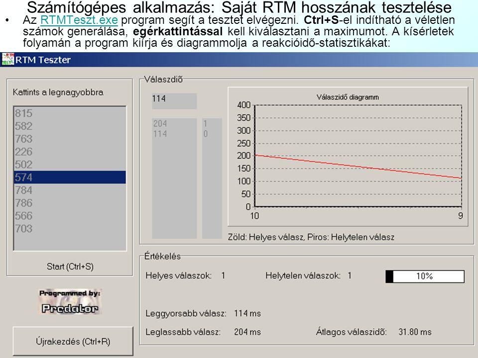 Számítógépes alkalmazás: Saját RTM hosszának tesztelése