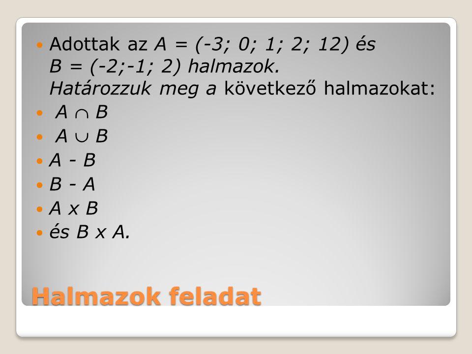 Adottak az A = (-3; 0; 1; 2; 12) és B = (-2;-1; 2) halmazok