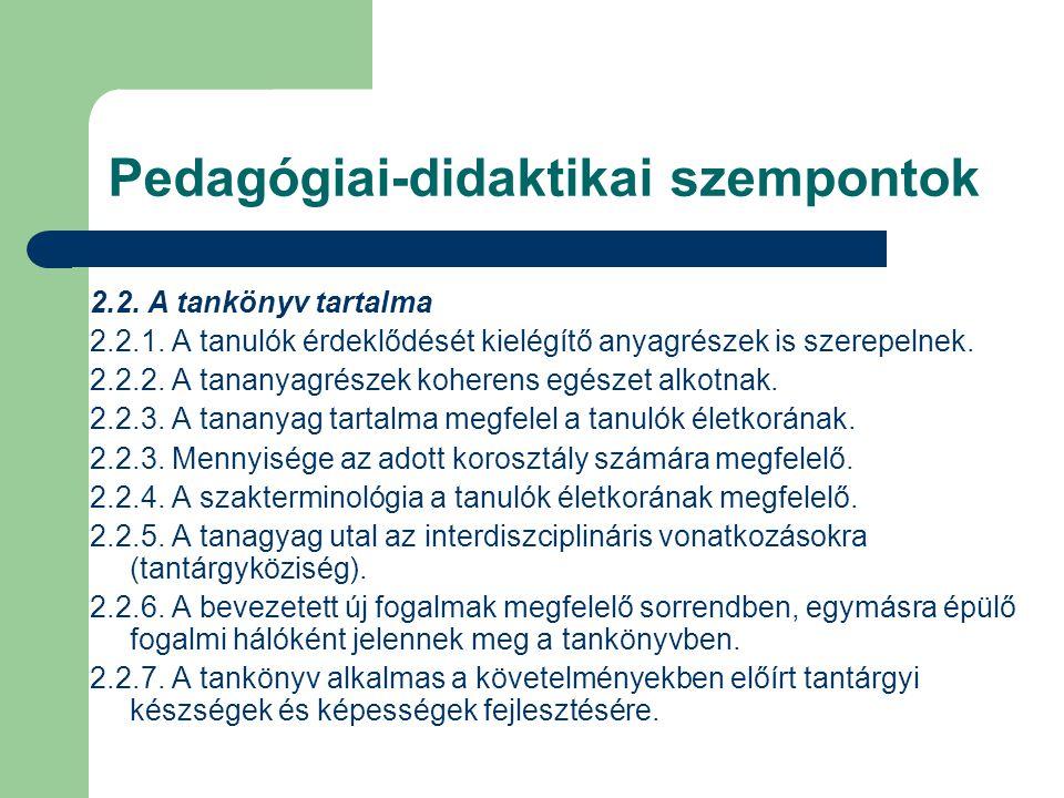 Pedagógiai-didaktikai szempontok