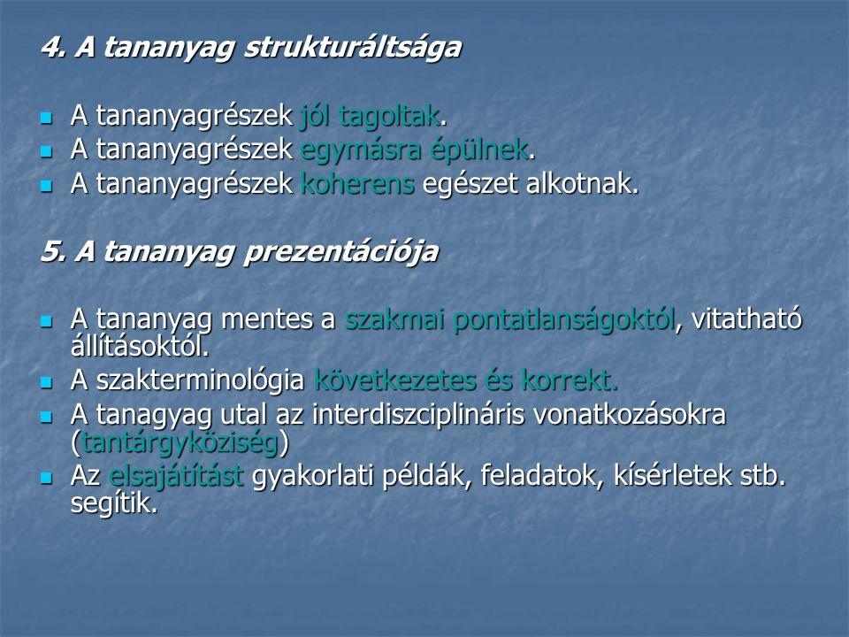 4. A tananyag strukturáltsága