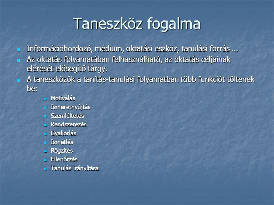 Taneszköz fogalma Információhordozó, médium, oktatási eszköz, tanulási forrás …