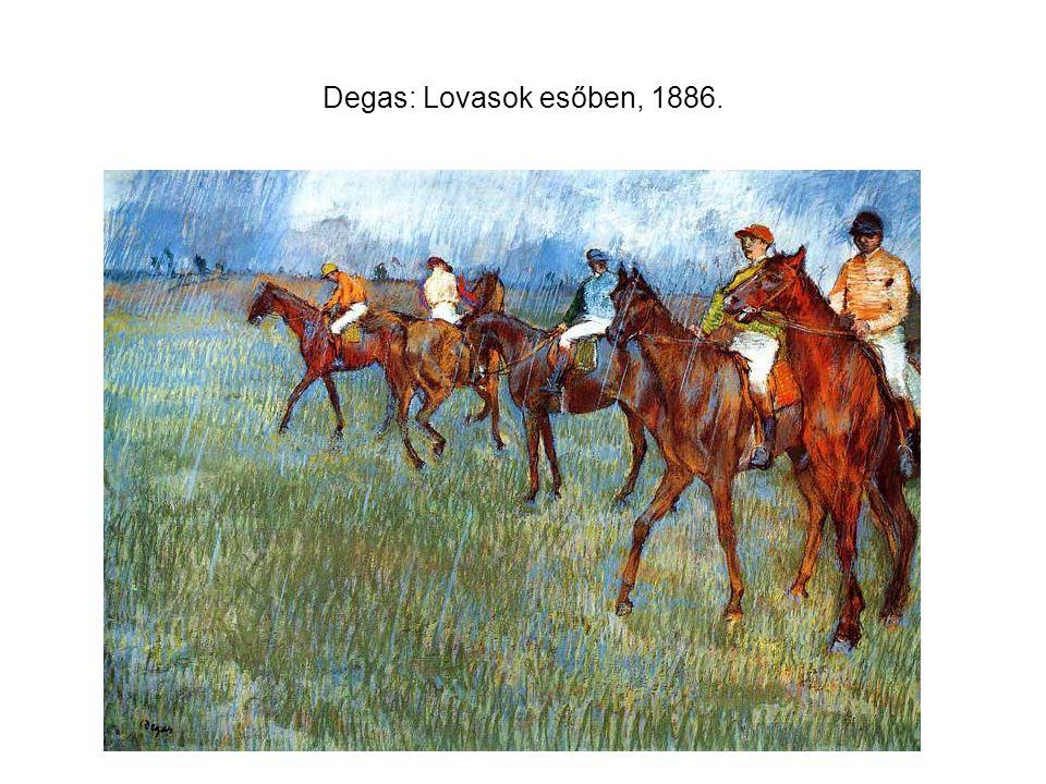 Degas: Lovasok esőben, 1886.