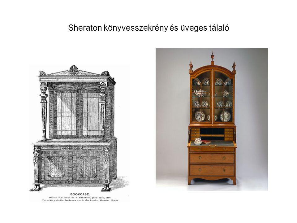 Sheraton könyvesszekrény és üveges tálaló