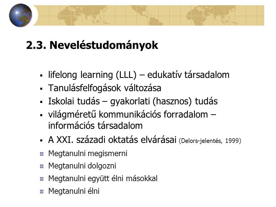 2.3. Neveléstudományok lifelong learning (LLL) – edukatív társadalom
