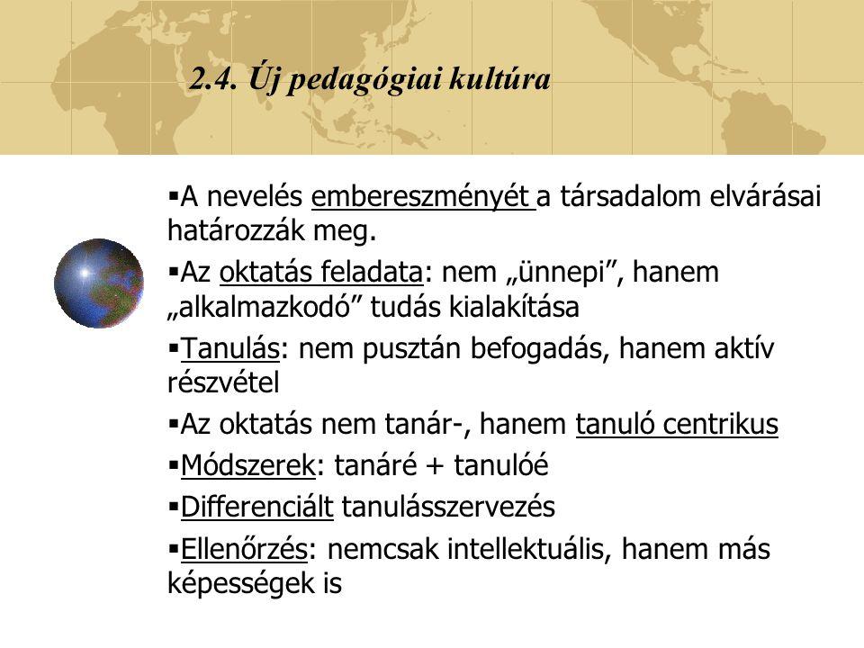 2.4. Új pedagógiai kultúra A nevelés embereszményét a társadalom elvárásai határozzák meg.