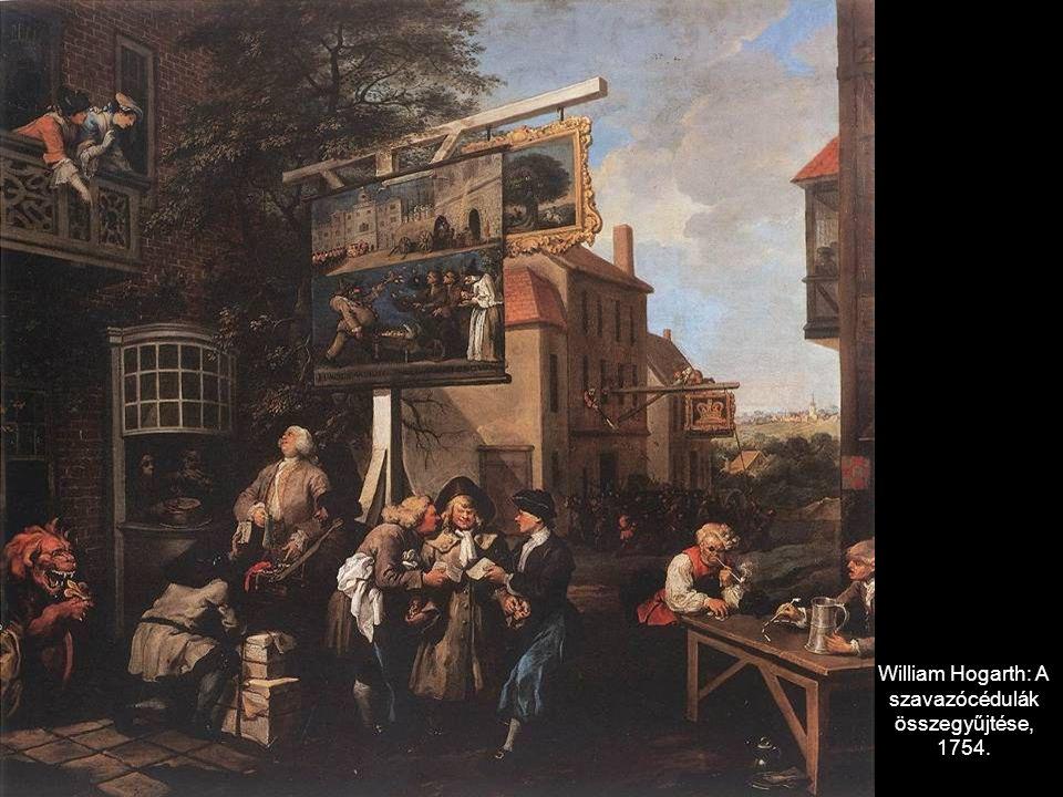 William Hogarth: A szavazócédulák összegyűjtése, 1754.