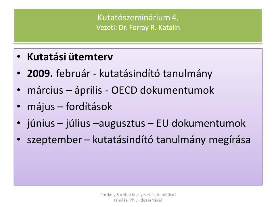 Kutatószeminárium 4. Vezeti: Dr. Forray R. Katalin