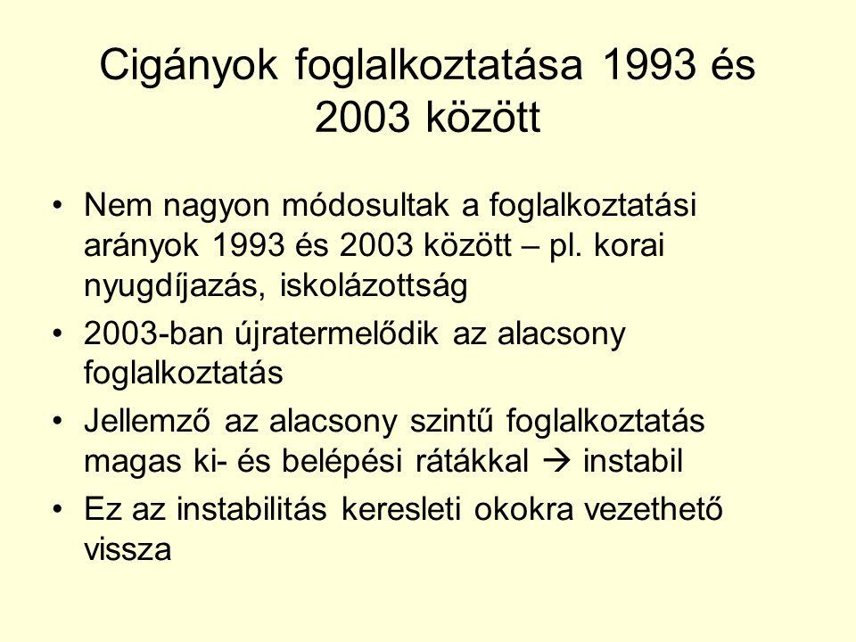 Cigányok foglalkoztatása 1993 és 2003 között