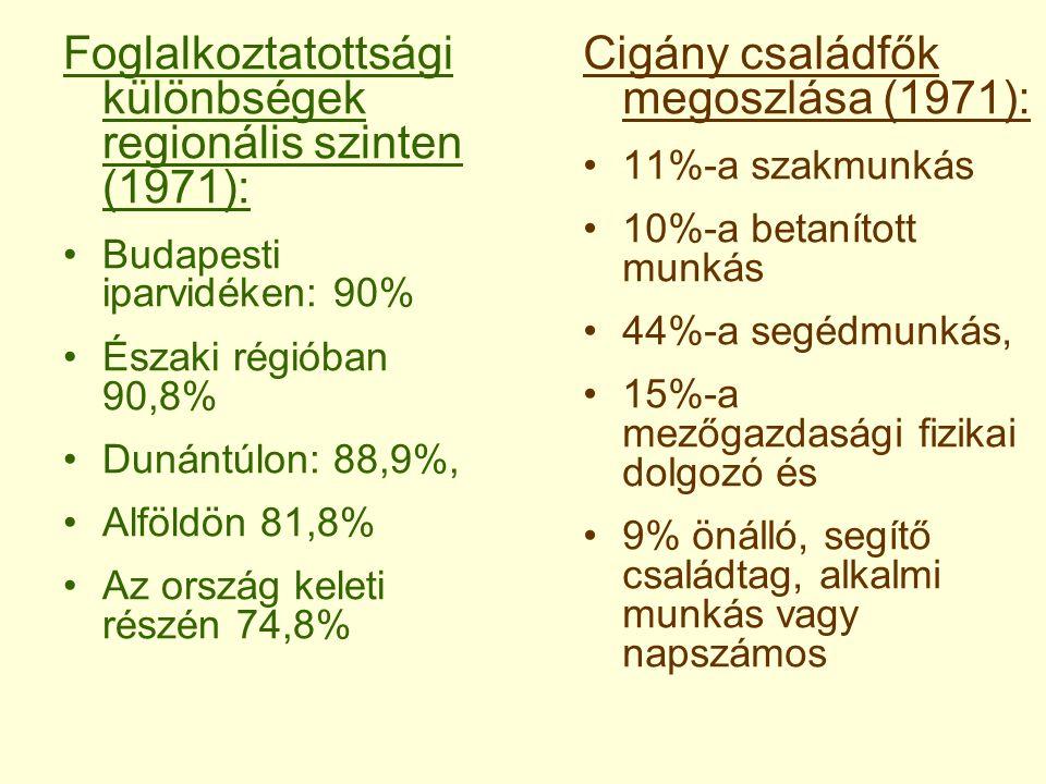 Foglalkoztatottsági különbségek regionális szinten (1971):