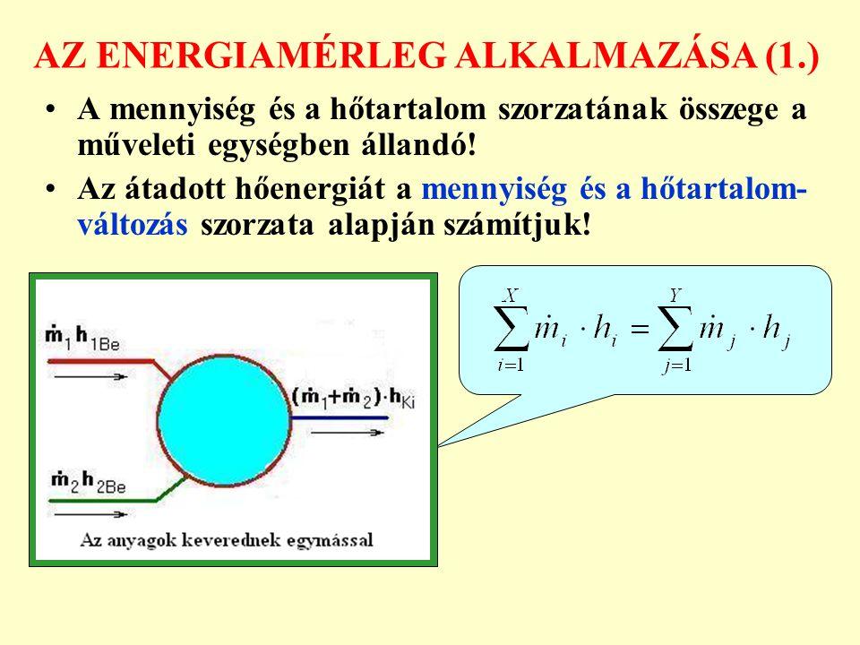 AZ ENERGIAMÉRLEG ALKALMAZÁSA (1.)