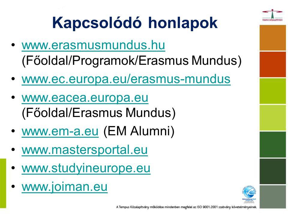 Kapcsolódó honlapok www.erasmusmundus.hu (Főoldal/Programok/Erasmus Mundus) www.ec.europa.eu/erasmus-mundus.