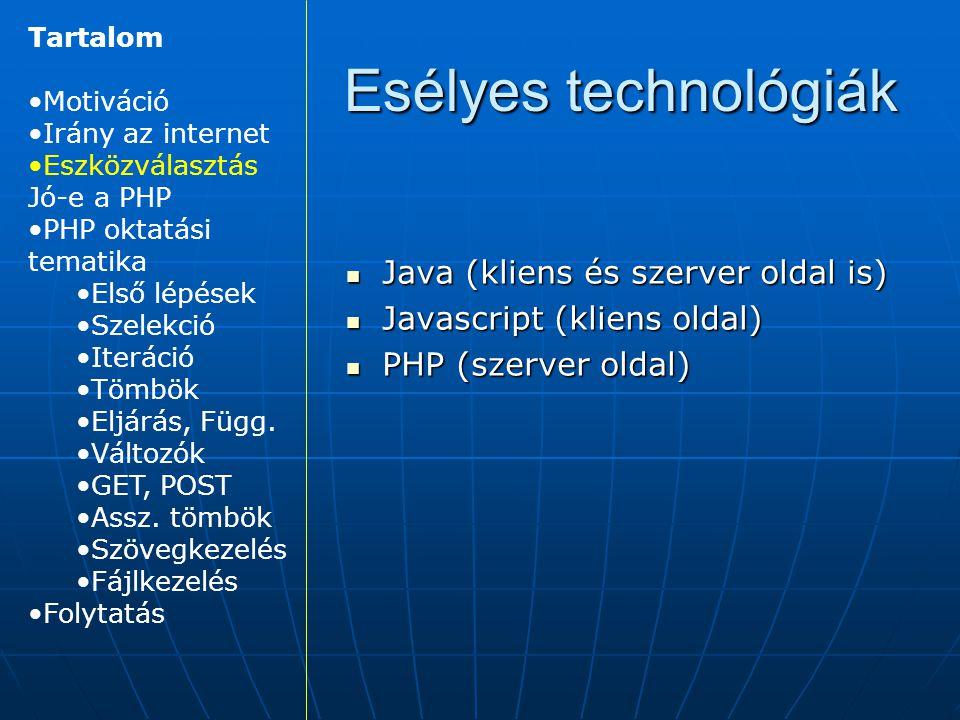 Esélyes technológiák Java (kliens és szerver oldal is)