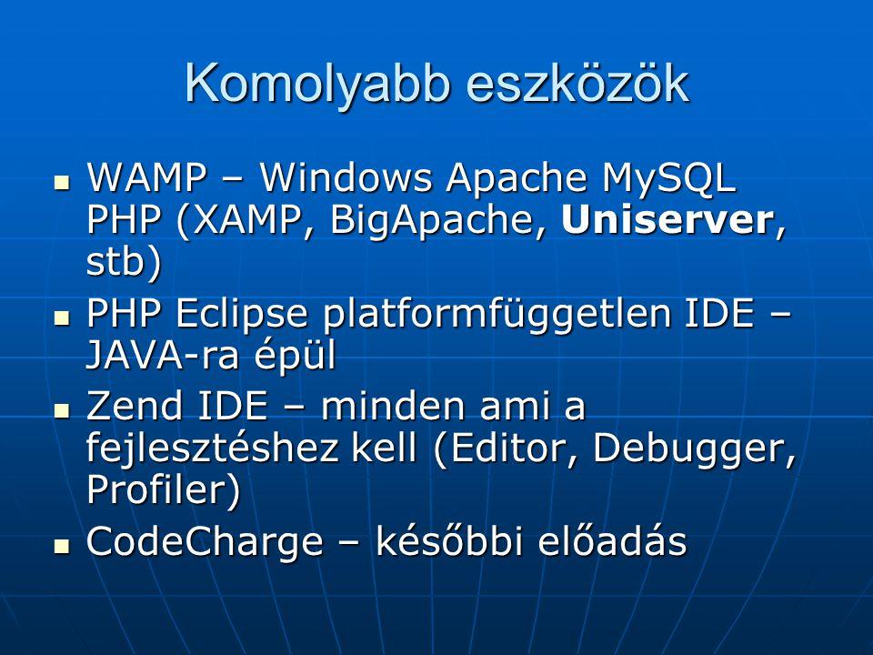 Komolyabb eszközök WAMP – Windows Apache MySQL PHP (XAMP, BigApache, Uniserver, stb) PHP Eclipse platformfüggetlen IDE – JAVA-ra épül.