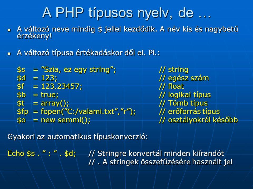 A PHP típusos nyelv, de … A változó neve mindig $ jellel kezdődik. A név kis és nagybetű érzékeny! A változó típusa értékadáskor dől el. Pl.: