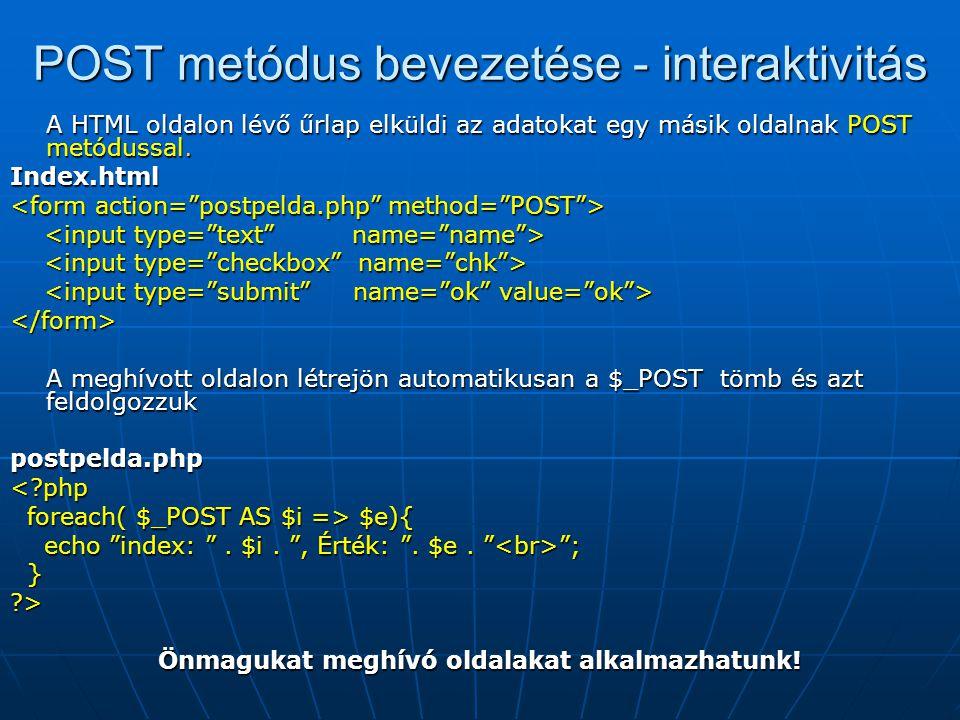 POST metódus bevezetése - interaktivitás
