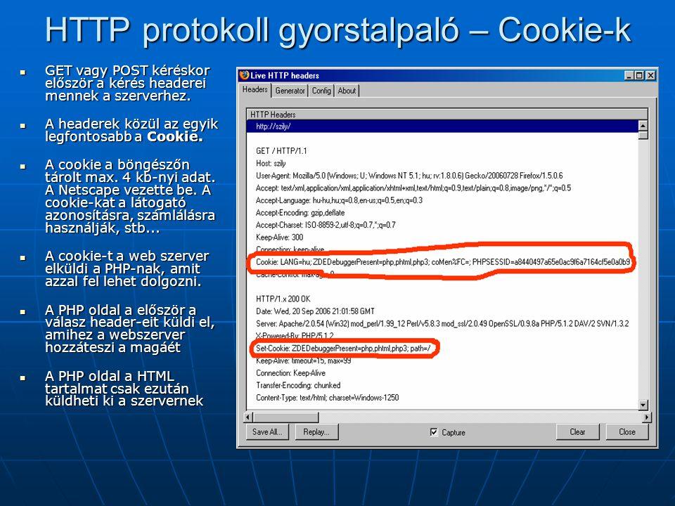 HTTP protokoll gyorstalpaló – Cookie-k