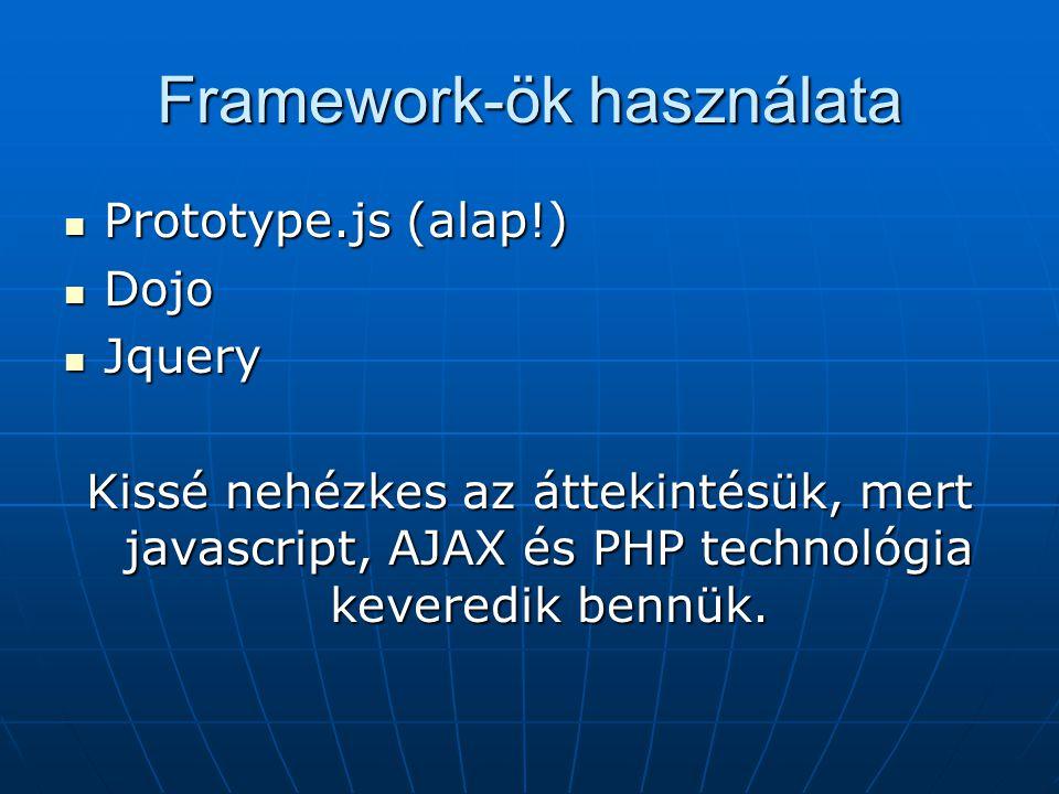 Framework-ök használata