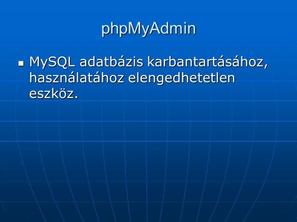 phpMyAdmin MySQL adatbázis karbantartásához, használatához elengedhetetlen eszköz.