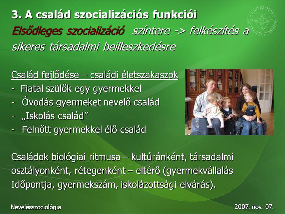 3. A család szocializációs funkciói