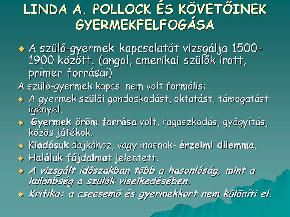 LINDA A. POLLOCK ÉS KÖVETŐINEK GYERMEKFELFOGÁSA