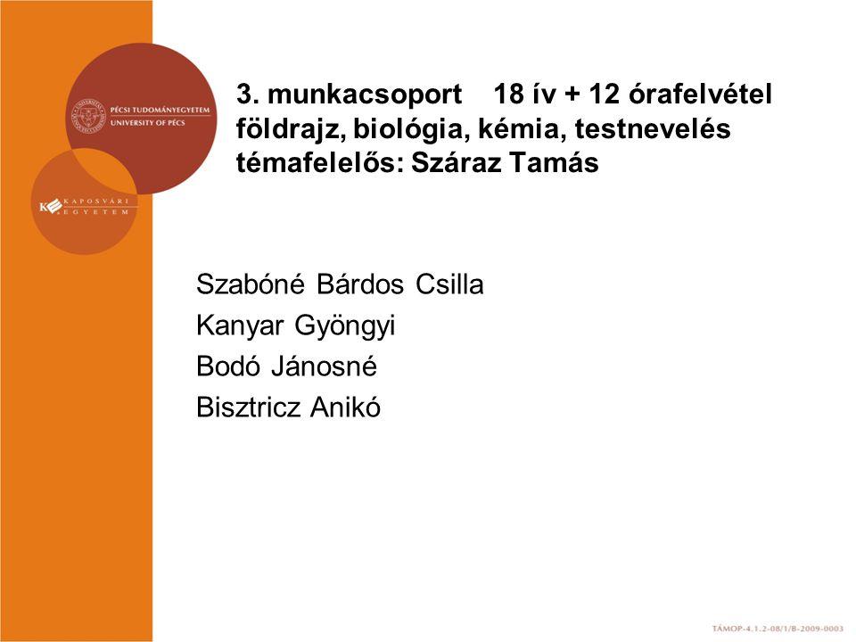 3. munkacsoport 18 ív + 12 órafelvétel földrajz, biológia, kémia, testnevelés témafelelős: Száraz Tamás