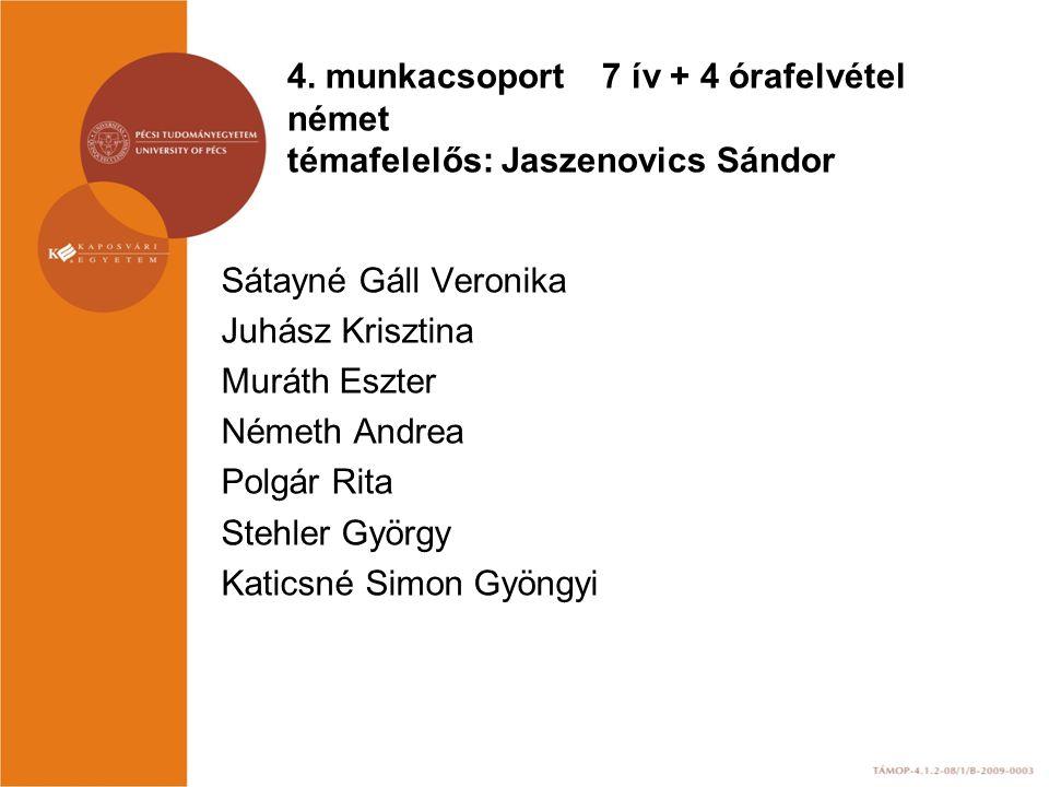 4. munkacsoport 7 ív + 4 órafelvétel német témafelelős: Jaszenovics Sándor