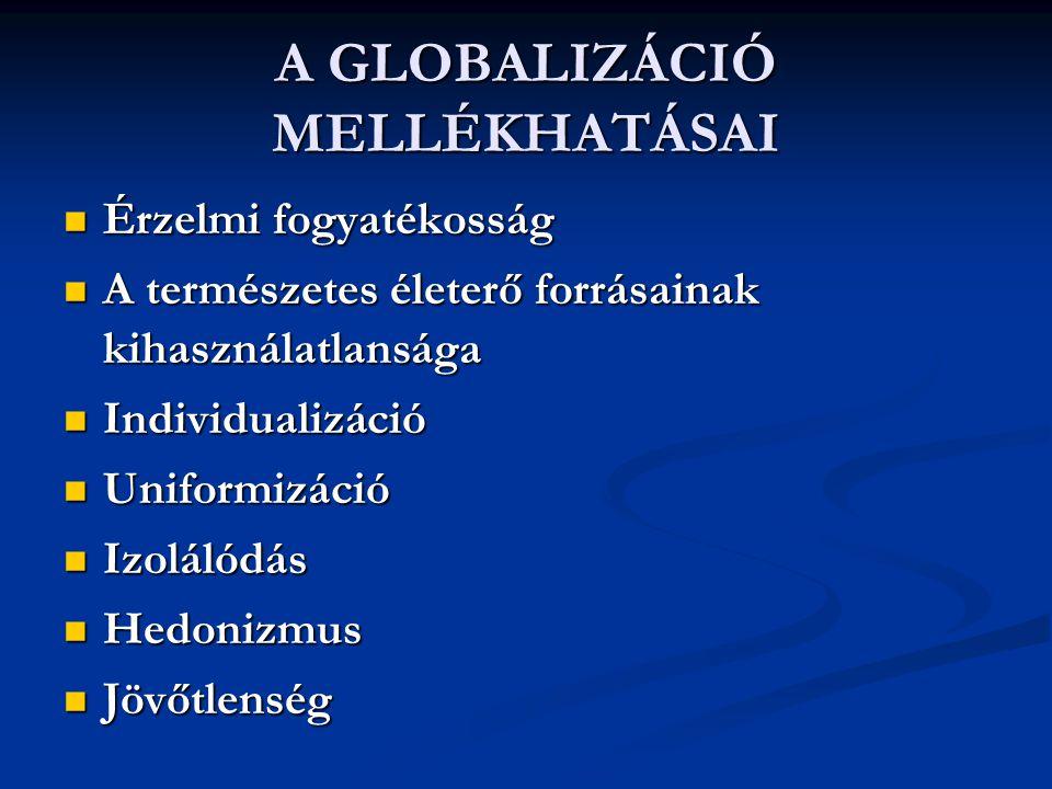 A GLOBALIZÁCIÓ MELLÉKHATÁSAI