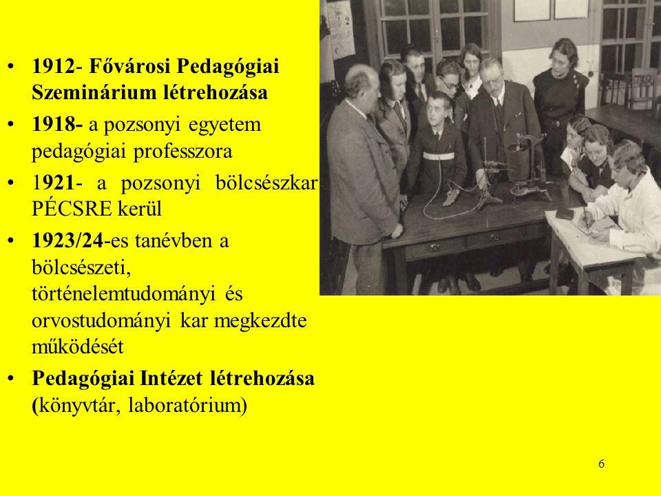 1912- Fővárosi Pedagógiai Szeminárium létrehozása