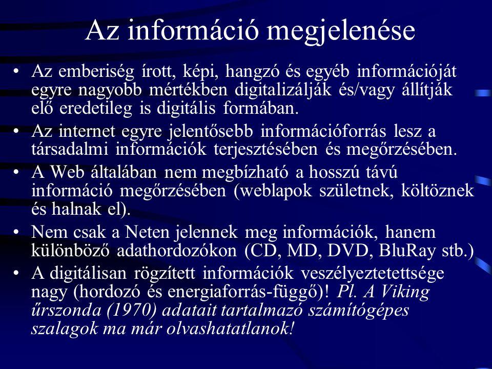 Az információ megjelenése