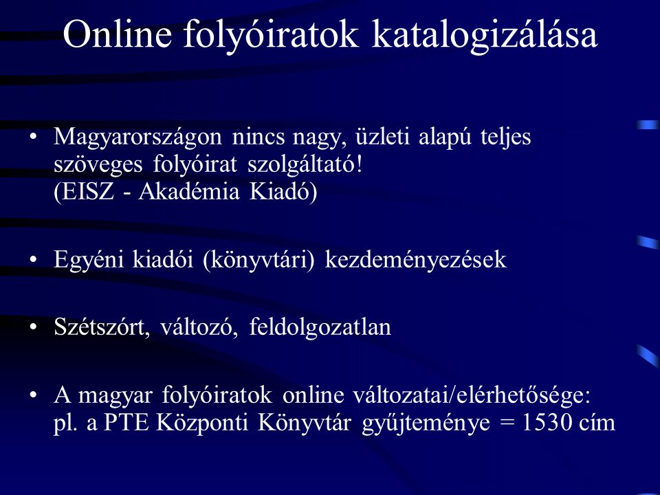 Online folyóiratok katalogizálása