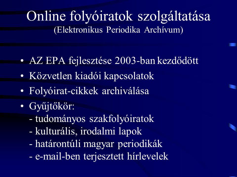 Online folyóiratok szolgáltatása (Elektronikus Periodika Archívum)
