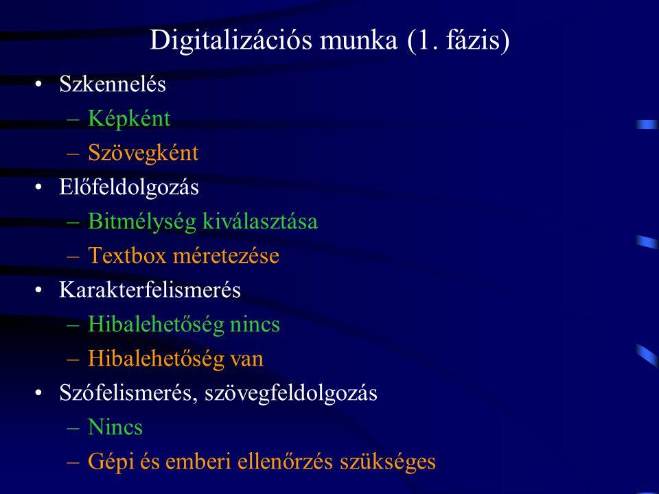 Digitalizációs munka (1. fázis)