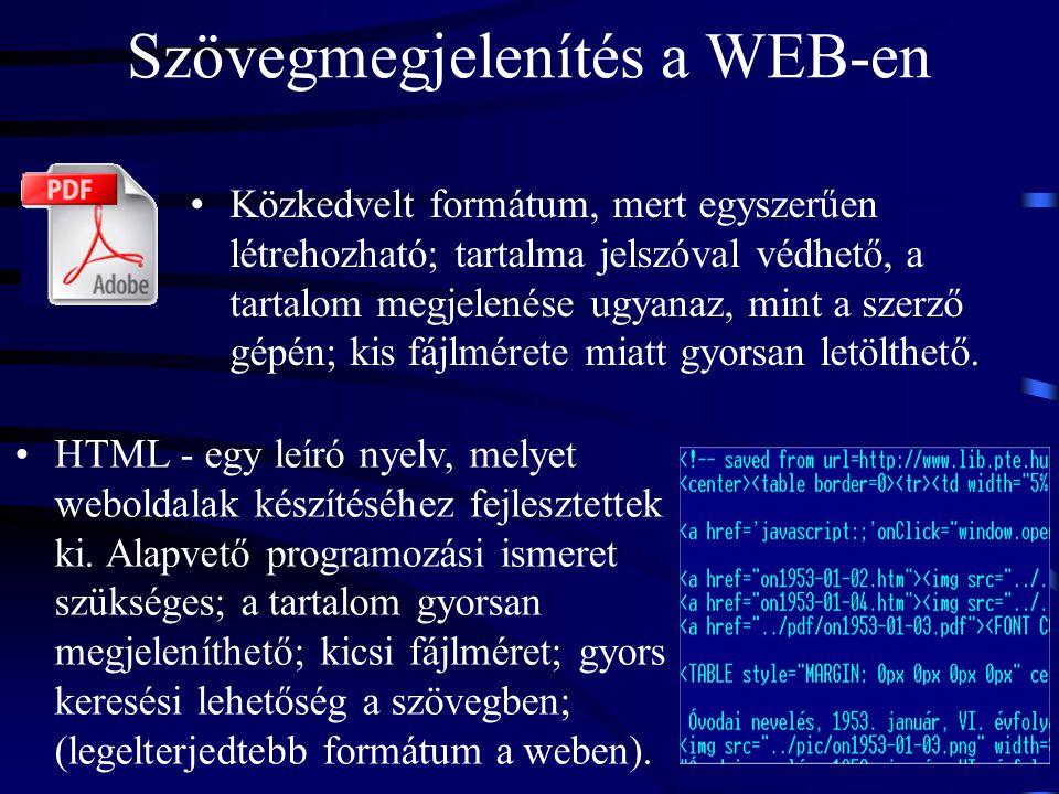 Szövegmegjelenítés a WEB-en