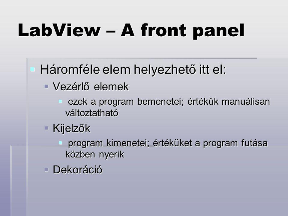 LabView – A front panel Háromféle elem helyezhető itt el: