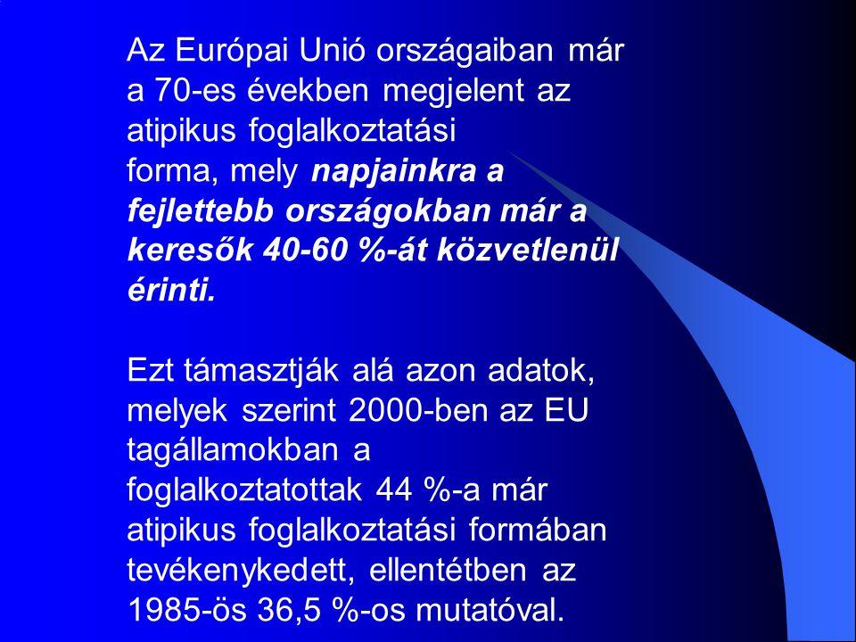 Az Európai Unió országaiban már a 70-es években megjelent az atipikus foglalkoztatási