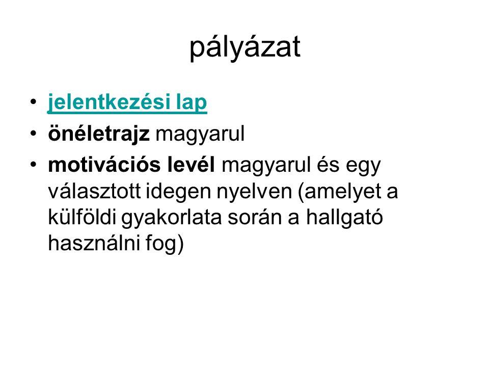 pályázat jelentkezési lap önéletrajz magyarul