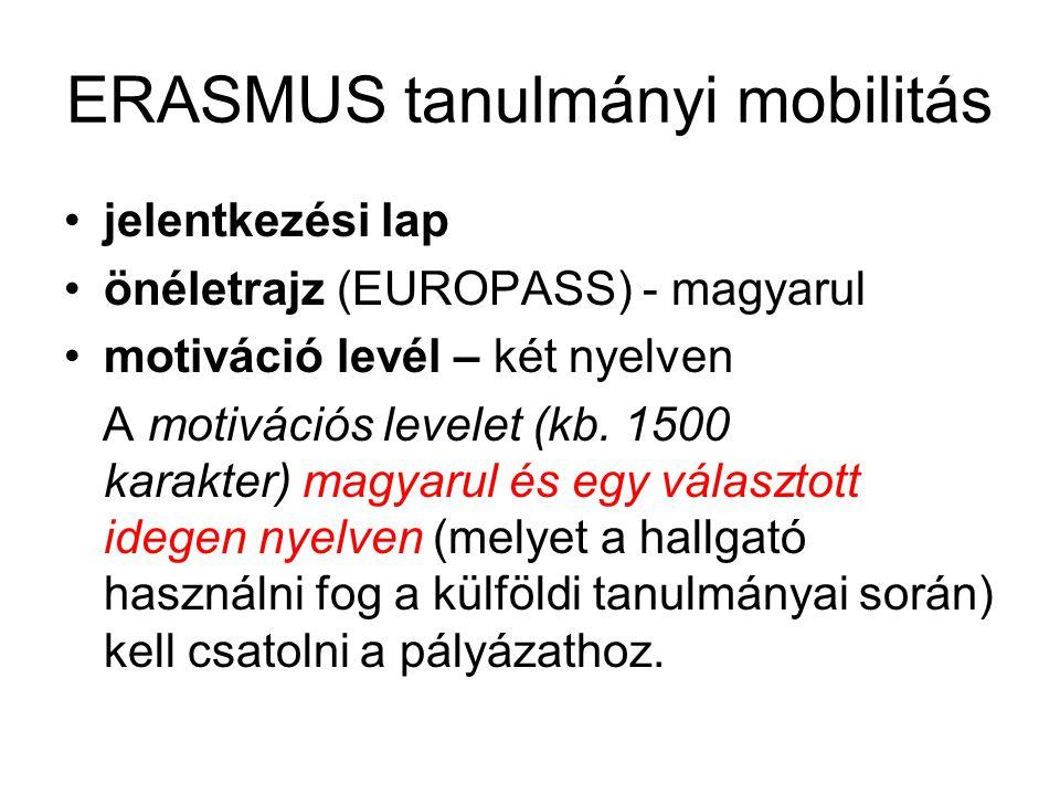 ERASMUS tanulmányi mobilitás