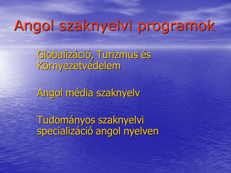 Angol szaknyelvi programok