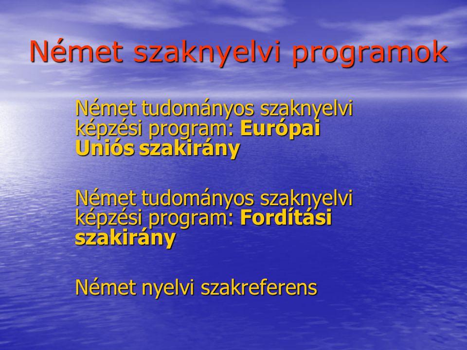 Német szaknyelvi programok