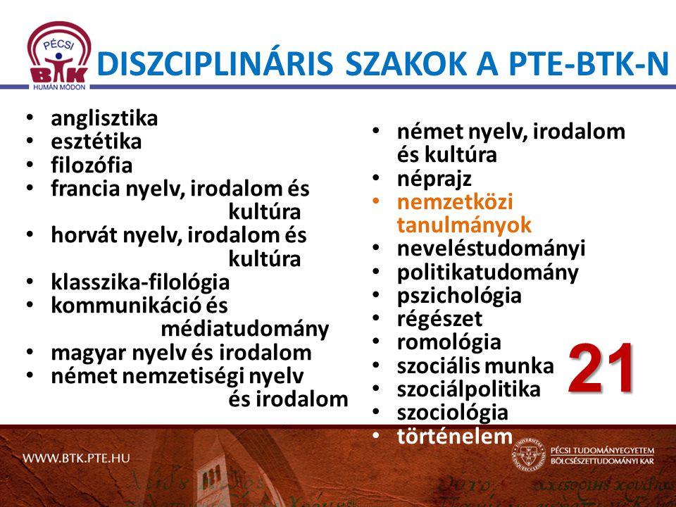 Diszciplináris szakok a PTE-BTK-n
