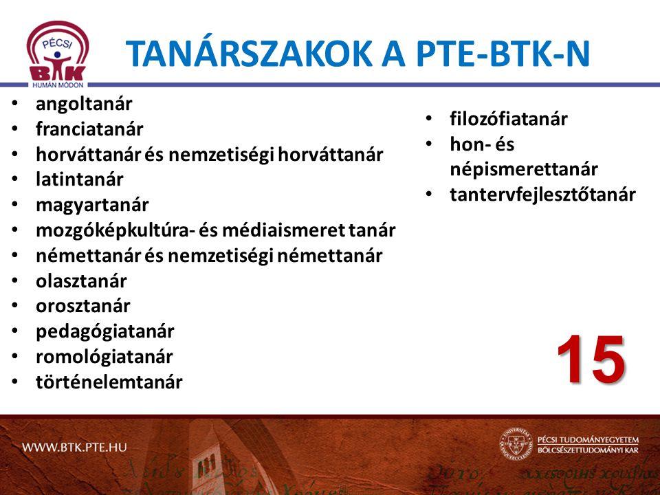 Tanárszakok a PTE-BTK-n