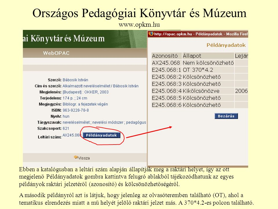 Országos Pedagógiai Könyvtár és Múzeum www.opkm.hu