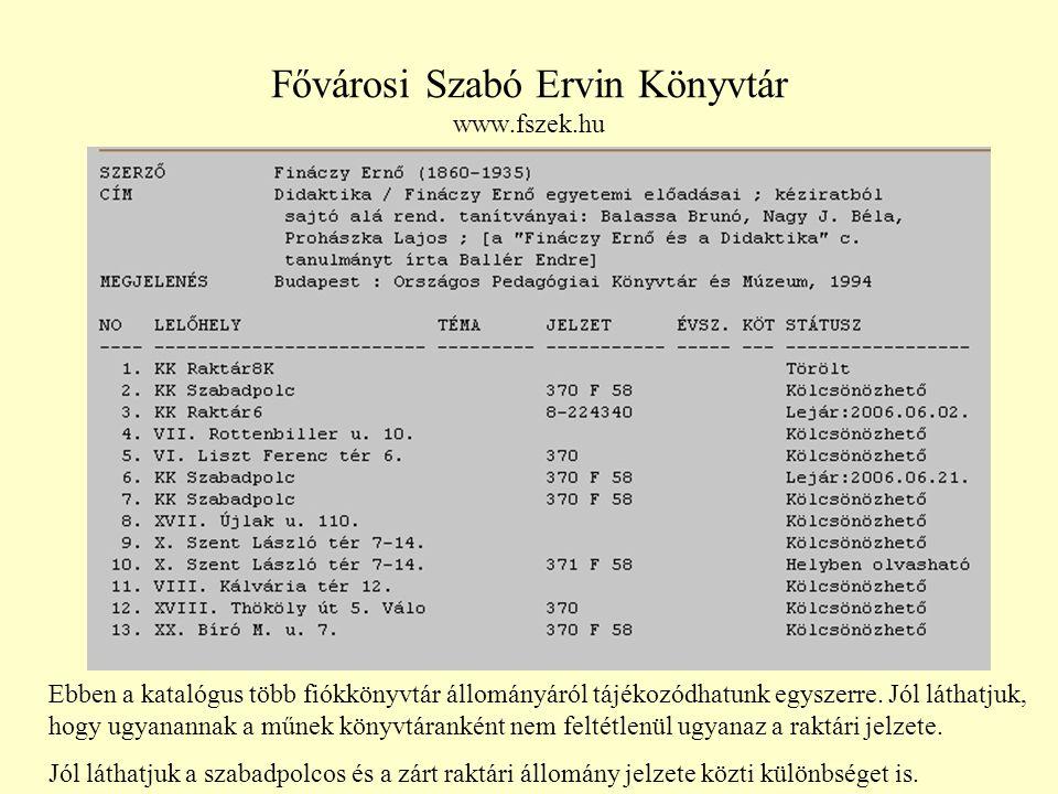 Fővárosi Szabó Ervin Könyvtár www.fszek.hu
