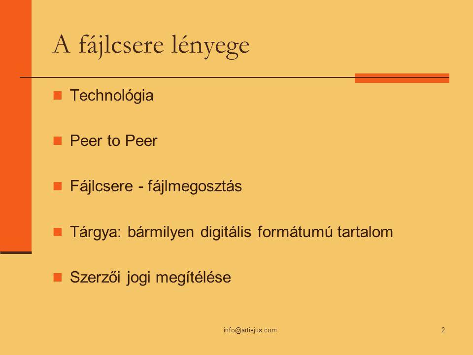 A fájlcsere lényege Technológia Peer to Peer Fájlcsere - fájlmegosztás