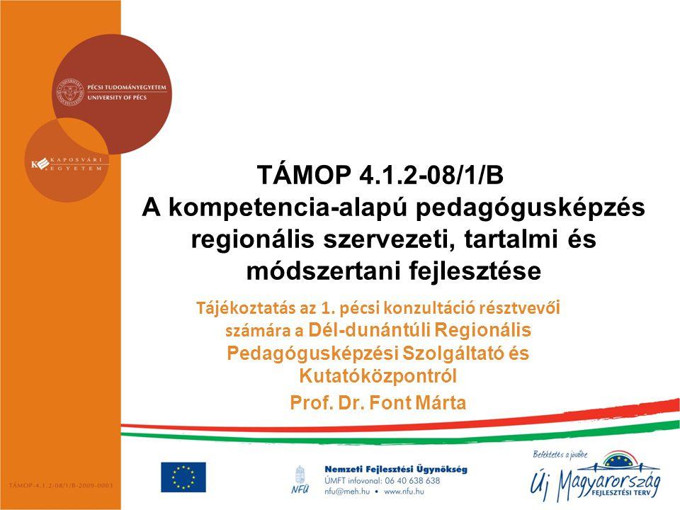 TÁMOP 4.1.2-08/1/B A kompetencia-alapú pedagógusképzés regionális szervezeti, tartalmi és módszertani fejlesztése