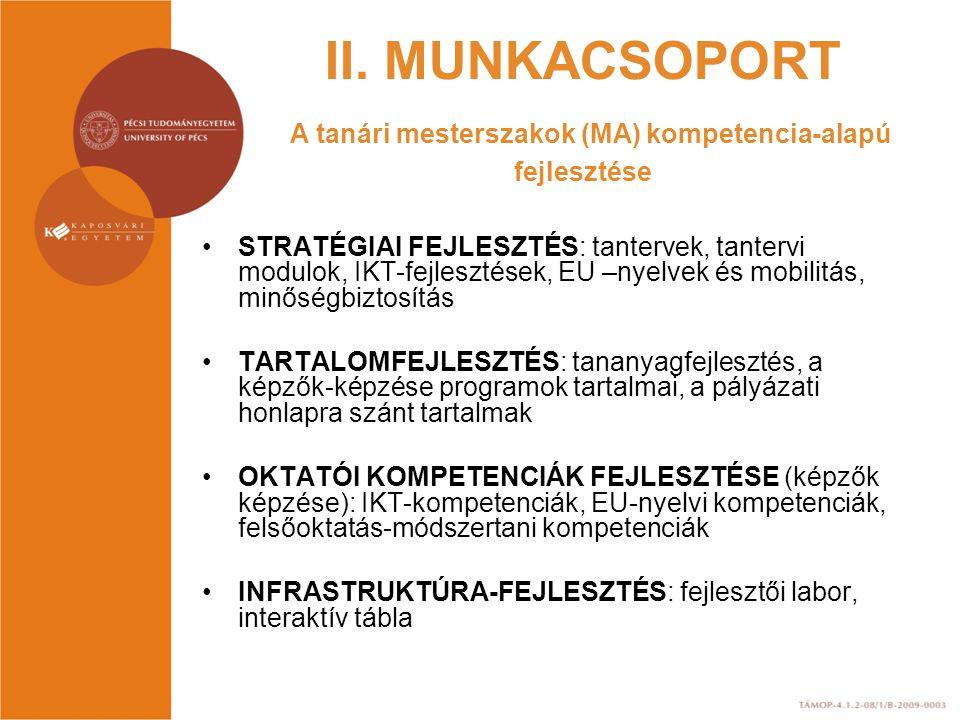 II. MUNKACSOPORT A tanári mesterszakok (MA) kompetencia-alapú fejlesztése