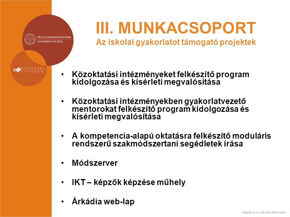 III. MUNKACSOPORT Az iskolai gyakorlatot támogató projektek